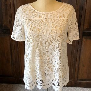 Lace short sleeve shell